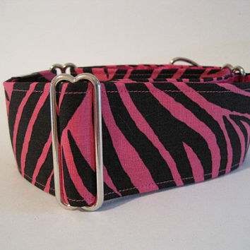 2 inch Hot Pink Zebra Print Martingale Collar, Black and Fuchsia Dog Collar, Greyhound Martingale Collar
