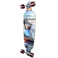 New Graphics Drop Through Complete Longboard Professional Speed Skateboard (Seaside)