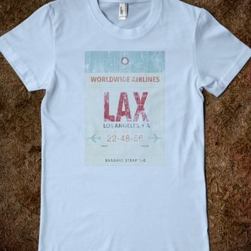 Amazing Retro LAX Airport Luggage Tag Cool T-Shirt Distressed Version