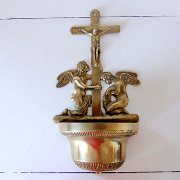 Vintage French Brass Benitier, Crucifix, Holy Water Font