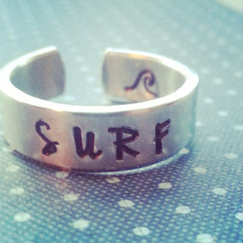 Surf  aluminum cuff ring 1/4 inch wide  wave inside