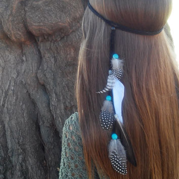 Native, American, style, Feather HeadBand, hippie wedding, Boho headband, bohemian headband, feather headpiece, feather hair, turquoise