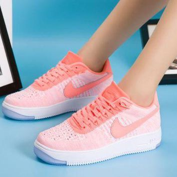 DCCKBE6 Nike Air Force 1 Flyknit Af1 820256-608 Orange For Women Men Running Sport Casual Shoes Sneakers