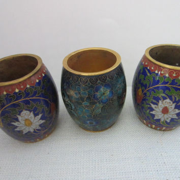Asian Cloisonne Candle Holders Suite Enamel Lotus Blossoming