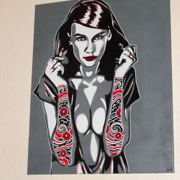 Tattooed Sleeves canvas painting,hooded woman,stencil art,graffiti art,spray paint art,pop,japanese,tattoo,design,arms,ink,pop art,greys,red