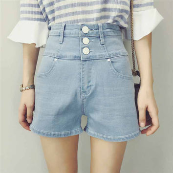 Washed High Waist Stretch Buttoned Down Crop Denim Shorts