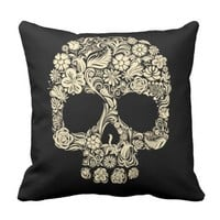 Floral Sugar Skull Throw Pillow