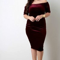 plus size Velvet Off-The-Shoulder Short Sleeve Dress