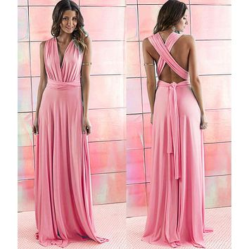 2016 Summer Sexy Women Peach Infinity Maxi Wrap dress  Long Gown Dress Multiway Bridesmaids Convertible Dress robe longue femme