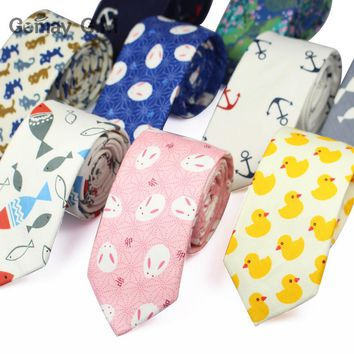 Men's Suit Animal Pattern Tie Classic Men's Printed Necktie Formal Business Anchor Bowknots Ties Male Cotton Skinny Slim Ties
