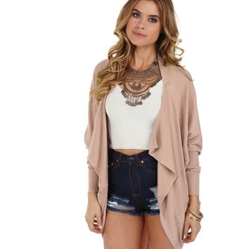 Dusty Pink Draped Cardigan