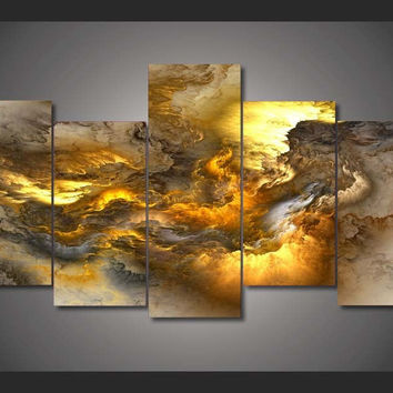 Fire Nebula 5-Piece Wall Art Canvas