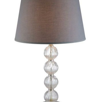 Set of 2 Stacked crystal spheres table lamp with grey shade