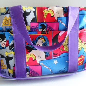 Extra Large Diaper bag Made of DC Comics / Super Hero / Comic Book Fabrics / Wonder Woman / Batgirl