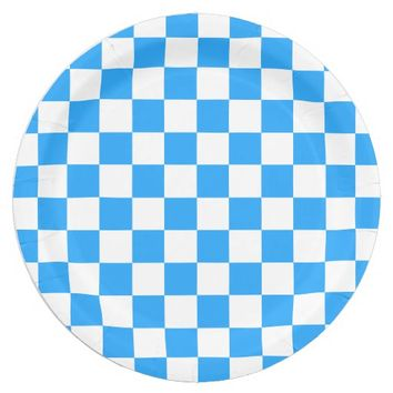 Sky Blue and White Checkerboard Pattern Paper Plate