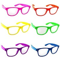 Lot of 6 Nerd Glasses Buddy Holly Wayfarer  Clear Lenses (Multi Color Frames Clear enses)