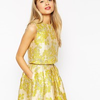 ASOS Yellow Floral Jacquard Shell Top - Co-ord