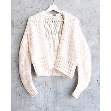 Free People Glow For It Chunky Knit Open Front Ribbed Hem Cardi in Ivory