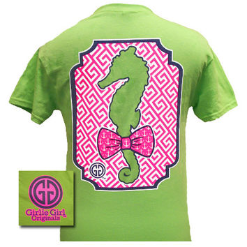 Girlie Girl Originals Preppy Seahorse Anchor Bow Green Bright T Shirt