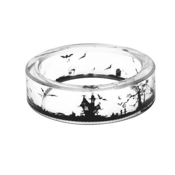 Hot Handmade Halloween Bat Rings Men Transparent Scenery Inside Epoxy Resin Ring Women Finger Knuckle Punk Jewelry 2017