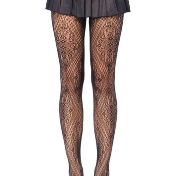 Florentine Lace Pantyhose (One Size,Black)