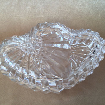 Crystal Heart Box, Double Heart Box, Vintage Studio Nova, Lidded Heart Dish, Vanity Gift Heart, Mikasa Crystal Heart, Jewelry Heart Box