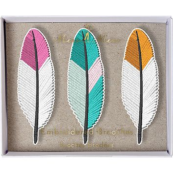 Feather Embroidered Patch Style Fabric Brooches in Pink, Blue and Orange