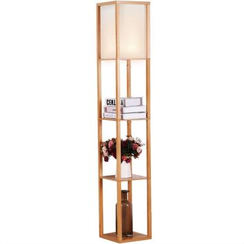 Modern 63-inch Tall Asian Style Floor Lamp with Off-White Shade in Natural Finish
