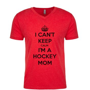 I Can't Keep Calm I'm A Hockey Mom  Men's V Neck