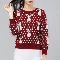 Wine Red Reindeer Polka Dot Sweater