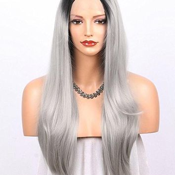 Illusion Deep Part Lace Front Wigs for Women Long Natural Wavy L Part Glueless Synthetic Wig Half Hand Tied Replacement Full Wig 22 inches