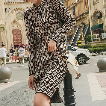 FENDI Autumn Winter Fashion Women Open Fork Sweater Medium Long Style Long Sleeve Knit Dress Coffee I13631-1