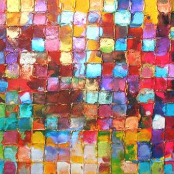 NEW ART XL Original Mosaic Art by Caroline Ashwood - Textured and contemporary abstract painting on canvas - Free Shipping