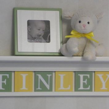 "Yellow and Green Baby Boy Nursery Art Decor - 24"" Linen White Shelf - Sign 6 Pastel Soft Green and Yellow Wooden Wall Letters - FINLEY"