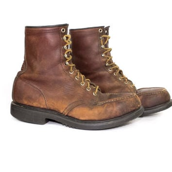 """vintage RED WING 8"""" boot  - lace up brown leather boots - moc toe - mens 10 - 11 D"""