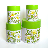 Vintage Nesting Tin Canister Set of 4 White Green Yellow Floral Pattern 1970s Kitchen Metal Canister Set Country Kitchenware