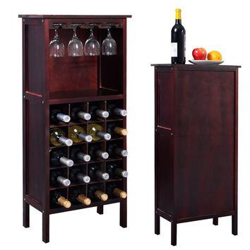 Costway Wood Wine Rack Holder Storage Shelf Display w/ Glass Hanger (20-Bottle(Cabinet))