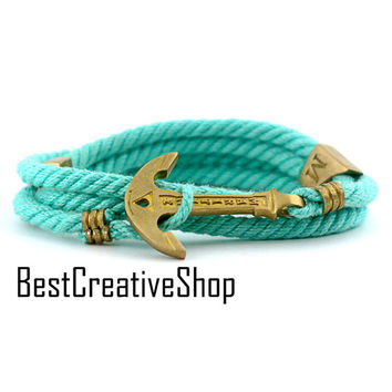 Anchor Bracelet / Tiffany Blue Bracelet / MARITIME Collection / Wrap Bracelet / Sea Bracelet / Rope Bracelet / Wooden Box / Adjustable Size