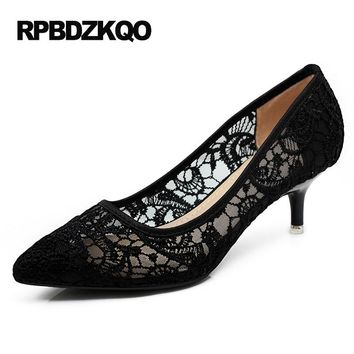 Cheap Discount Mesh Black Size 4 34 Pointed Toe 2017 Ladies Kitten Heels Shoes High Thin Lace Pumps Medium Flower Spring New