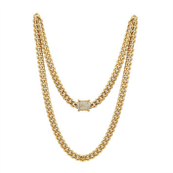 "Men's Stainless Steel 10mm  Miami Cuban Link 14k Gold Finish Chain 24"" Designer Iced out Lock"