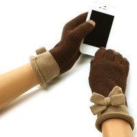 Ladies Winter 2 Tone Bows Knit Magic Touch Screen Thumb Index Gloves Brown Taupe