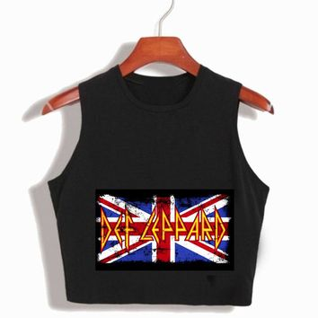 Def Leppard Tank Tops Womens Heavy Rock Band 2017 camis women hot sexy cropped harajuku camisetas mujer Summer T shirts