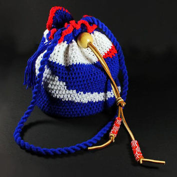 Drawstring Crochet Hobo Bag, Patrotic Handbag, Team Bag.