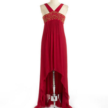 Nicole Miller Hi-Lo Embroidered Crinkled Silk Gown