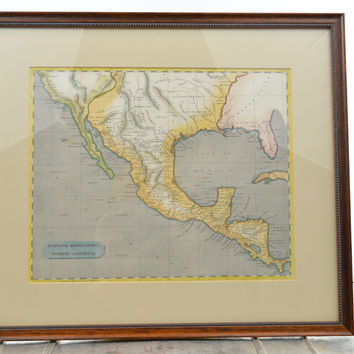 Original Hand Colored 1802 Map of North America & Central America Framed