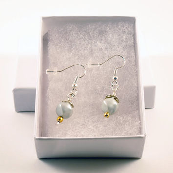 Hexagon Style Blue Pearl and Gold Dangle Earrings