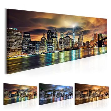 ( No Frame ) Night view of Urban architecture Building Statue Design Canvas Print Wall Art Modern Home Decoration, Choose Color