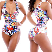 One-Piece Bikini Print Swimsuit