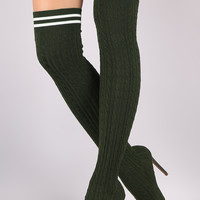 Liliana Stretched Sweater Knit Stiletto Over-The-Knee Sock Boots