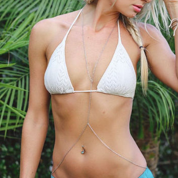 Simple silver belly chain, body chain, beach jewelry, boho, belly chain, necklace belly chain,